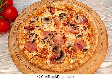 pomodori, funghi, pizza, formaggio, prosciutto, asse