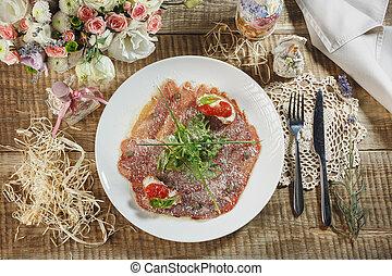 pomodori, salame, spagnolo, paprica, salsiccia, prosciutto, ciliegia, legno, nero, board., ardesia, rosso, magro, pepe, piccante, cut., cibo., erbe, fondo, pietra, pepper., salame, spezie, chili., chorizo