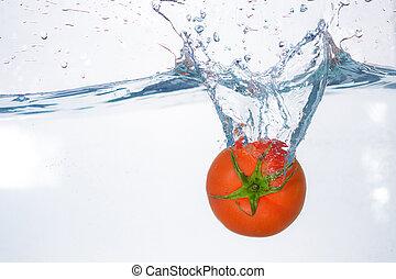 pomodoro, acqua blu, caduto, bianco rosso