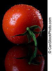 pomodoro, crudo, sfondo nero