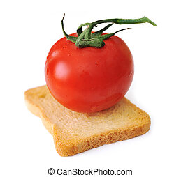 pomodoro, fetta, pane tostato, vegetariano, isolato, verdura, cereale, bread