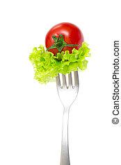 pomodoro, forchetta, ciliegia, isolato, fondo, fresco, bianco