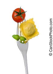 pomodoro, forchetta, contro, pasta, fondo, basilico, bianco, ravioli