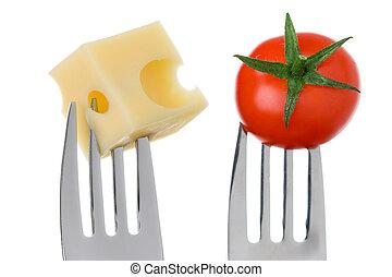 pomodoro, formaggio, forche, bianco, contro