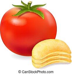 pomodoro, patata, illustrazione, realistico, vettore, patatine fritte, rosso