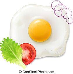 pomodoro, salad., realistico, vettore, verde, uovo, colazione, fritto, icona