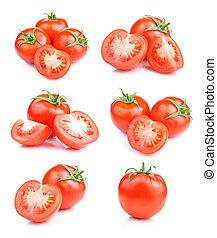 pomodoro, set, isolato, fondo, frutte, fresco, bianco rosso
