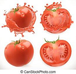 pomodoro, set, realistico, vettore, juice., vegetable., fresco, 3d, icona