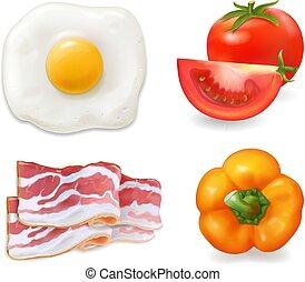 pomodoro, uova, pepper., ingredienti, uova, pancetta affumicata, strapazzato, fritto, omelette