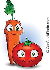 pomodoro, verdura, carota, cartone animato