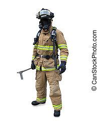 pompiere, ingranaggio, moderno