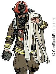 pompiere, tubo, fuoco