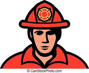 pompiere, uniforme, vettore