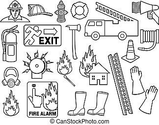 pompieri, icone, linea, collezione, magro