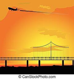 ponte, aeroplano, vettore, natura