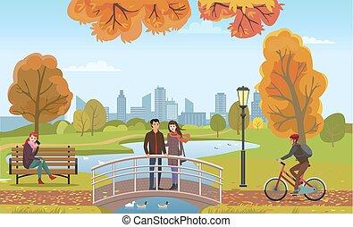 ponte, amore, persone, coppia, autunno, vettore