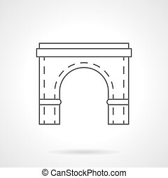 ponte, appartamento, elemento, vettore, linea, arco, icona