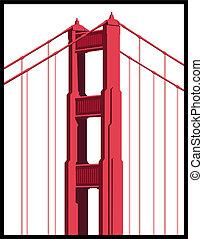 ponte, arte, cancello, dorato
