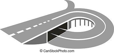 ponte, astratto, strada, autostrada, icona