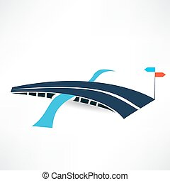 ponte, astratto, strada, icona