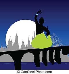 ponte, atteggiarsi, illustrazione, vettore, vario, ragazza
