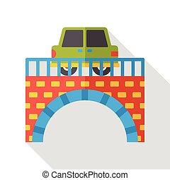 ponte, automobile, appartamento, icona