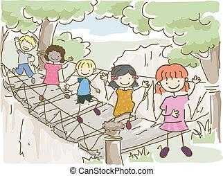 ponte, avventura, appendere