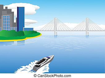 ponte, barca, navigazione motore