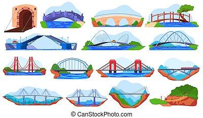 ponte, bianco, differente, vettore, set, illustrazione, adesivi, collezione, isolato