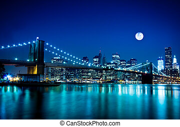 ponte, brooklyn, città, york, nuovo