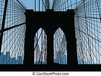 ponte, brooklyn, silhouette