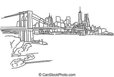 ponte, brooklyn, york, nuovo, panorama