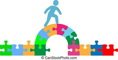 ponte, camminare, sopra, soluzione, persona, puzzle
