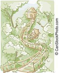ponte, case, albero, scarabocchiare