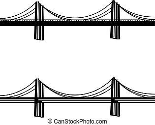 ponte, cavo, simbolo, metallo, nero, sospensione