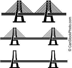 ponte, cavo, simbolo, moderno, nero, sospensione