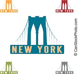 ponte, città, brooklyn, vettore, disegno, york, sagoma, nuovo