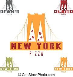 ponte, concetto, brooklyn, vettore, disegno, york, sagoma, nuovo, pizza