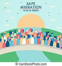 ponte, concetto, persone, sicuro, migrazione, incrocio
