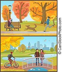 ponte, coppia, cane, autunno, parco, o, uomo