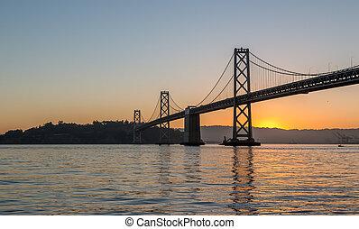 ponte, dietro, baia, sole sorgente