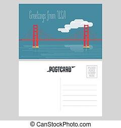 ponte, dorato, illustrazione, americano, vettore, cancello