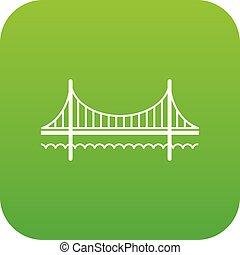 ponte, dorato, vettore, verde, cancello, icona