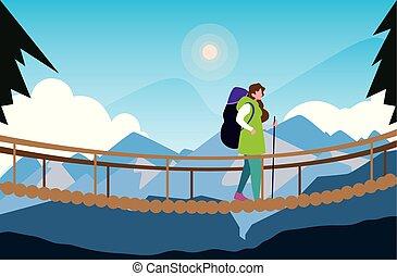 ponte, escursionismo donna, montagne, incrocio, paesaggio