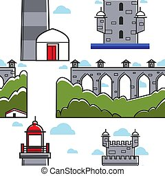 ponte, faro, portogallo, modello, seamless, mattone, torre
