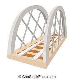 ponte, ferrovia, metallo, cartone animato, icona