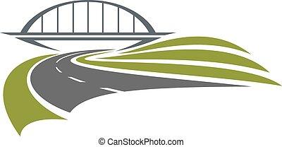 ponte, ferrovia, strada, sotto