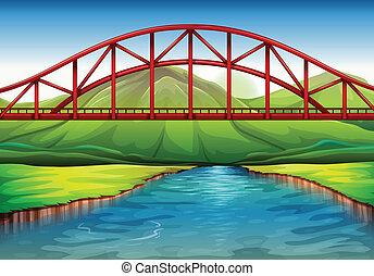 ponte, fiume, sopra