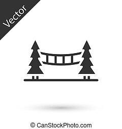 ponte, fondo., grigio, capilano, sospensione, bianco, vancouver, isolato, canada, icona, vettore