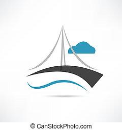 ponte, grande, vettore, icona